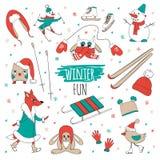 Vector set winter fun Stock Photo