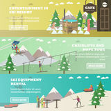 Vector set of winter fun horizontal banners in flat style Royalty Free Stock Image