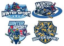 Set on winter games badge design. Vector of set on winter games badge design Stock Image
