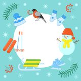 Vector set of winter games in the Christmas holidays. Vector set of winter games for Christmas holidays: snowman, sled, ski, hat, scarf, mittens skates vector illustration