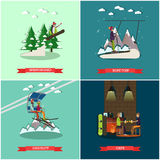 Vector set of winter holiday posters in flat style Royalty Free Stock Photo
