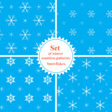 Vector. Set of winter seamless patterns with snowflakes. Snowfla vector illustration