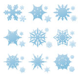 Vector set of winter snowflakes. Vector set of blue winter snowflakes and snow crystals Royalty Free Stock Photography