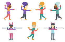 Vector set of winter sport characters. Stock Image