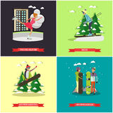 Vector set of winter sports concept posters, banners, flat style Royalty Free Stock Images