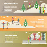 Vector set of winter sports and recreation concept horizontal banners Stock Photo