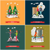 Vector set of winter sports and recreation concept posters, banners. Active people, cartoon characters. Skiing, Ice rink, Figure skating, Skier woman design Stock Image