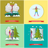Vector set of winter time concept posters, banners, flat style. Vector set of winter time concept posters, banners. Snowdrifts, Making snow angel, Winter walk Stock Images