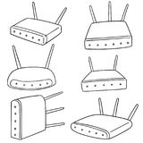 Vector set of wireless router. Hand drawn cartoon, doodle illustration Stock Photo