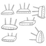 Vector set of wireless router. Hand drawn cartoon, doodle illustration Royalty Free Stock Image