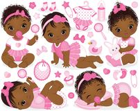 Free Vector Set With African American Baby Girls, Toys And Accessories Stock Image - 103031811