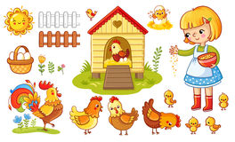Free Vector Set With Chicken And Girl. Stock Image - 91799391