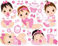 Free Vector Set With Cute Baby Girls, Toys And Accessories Royalty Free Stock Photo - 103031745