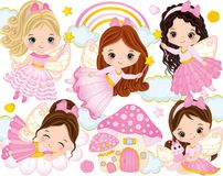 Vector Set With Cute Little Fairies And Nature Elements Stock Photography