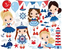 Free Vector Set With Cute Little Girls Dressed In Nautical Style, Marine Animals And Objects Royalty Free Stock Photo - 103203115