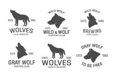 Vector set of wolf logo design elements Stock Photo