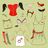 Vector set, woman fashion clothes Royalty Free Stock Photos