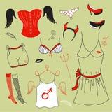 Vector set, woman fashion clothes Royalty Free Stock Photos