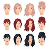 Trendy woman hairstyles. Vector set of woman haircuts in trendy colors, front view vector illustration