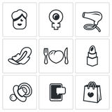 Vector Set of Woman and her habits Icons. Female, symbol of Venus mirror, hair dryer, feminine pad, heartbreaker. Girl, sign, beauty, hygiene nutrition cosmetic Royalty Free Stock Photography