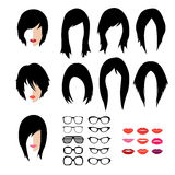 Vector set of woman hipster style haircut, glasses. Vector set dress up constructor. Different woman flat faces hipster style haircut, glasses and lips vector illustration
