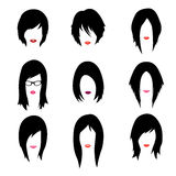Vector set of woman hipster style haircut, glasses Royalty Free Stock Photography