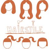 Vector set of woman silhouette with hair styling Stock Photo