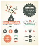 Vector set of womans day ornaments and decorative. Elements, with retro vintage styled design vector illustration