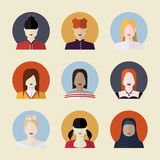 Vector set  of women avatars  different Stock Image