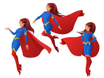 Vector set of women in blue and red superhero outfit in three different poses. Set of women in blue and red superhero outfit in three different poses. Cartoon Royalty Free Stock Photo