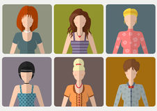Vector set of women with different hairstyles in flat style Stock Image