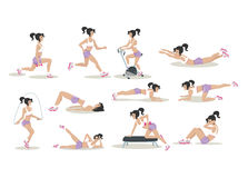 Vector set of women doing physical exercises. Stock Photography
