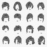 Vector set of women hairstyles Stock Photos