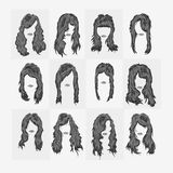 Vector set of women hairstyles Royalty Free Stock Images
