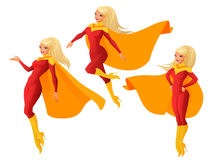 Vector set of women in red and yellow superhero outfit in different poses. Set of women in red and yellow superhero outfit in three different poses. Cartoon Royalty Free Stock Photography