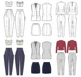 Vector set of women's clothes Stock Image