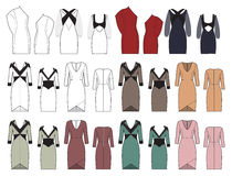 Vector set of women's dresses Royalty Free Stock Photo