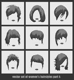 Vector set of women's hairstyles Royalty Free Stock Photography