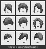 Vector set of women's hairstyles Stock Photo