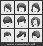 Vector set of women's hairstyles Stock Photo
