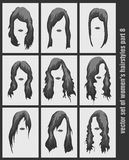 Vector set of women's hairstyles Royalty Free Stock Photos