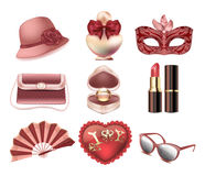 Vector set of womens fashion accessories. Hat, carnival mask, handbag, fan, heart pillow, perfume, lipstick, ring with a diamond. In the box. Promotional items stock illustration