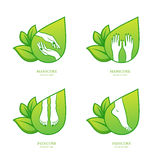 Vector set of womens manicure and pedicure logo, emblem, label design template. Royalty Free Stock Images