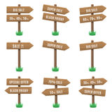 Vector set of wooden arrow sign Royalty Free Stock Image