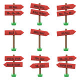 Vector set of wooden arrow sign Stock Photos