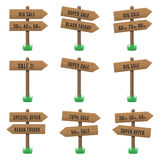 Vector set of wooden arrow sign Stock Image