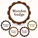 Vector set of wooden badges Royalty Free Stock Photo