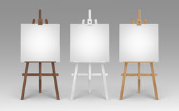 Vector Set of Wooden Brown White Sienna Easels with Mock Up Empty Blank Square Canvases on Background Stock Image