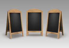 Vector Set of Wooden Empty Blank Advertising Street Sandwich Stands Sidewalk Signs Black Menu Boards Stock Photos