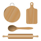 Vector Set from wooden kitchen devices, cutting boards, spoon, plunger. Set from wooden kitchen devices, cutting boards spoon plunger. Vector Stock Photo